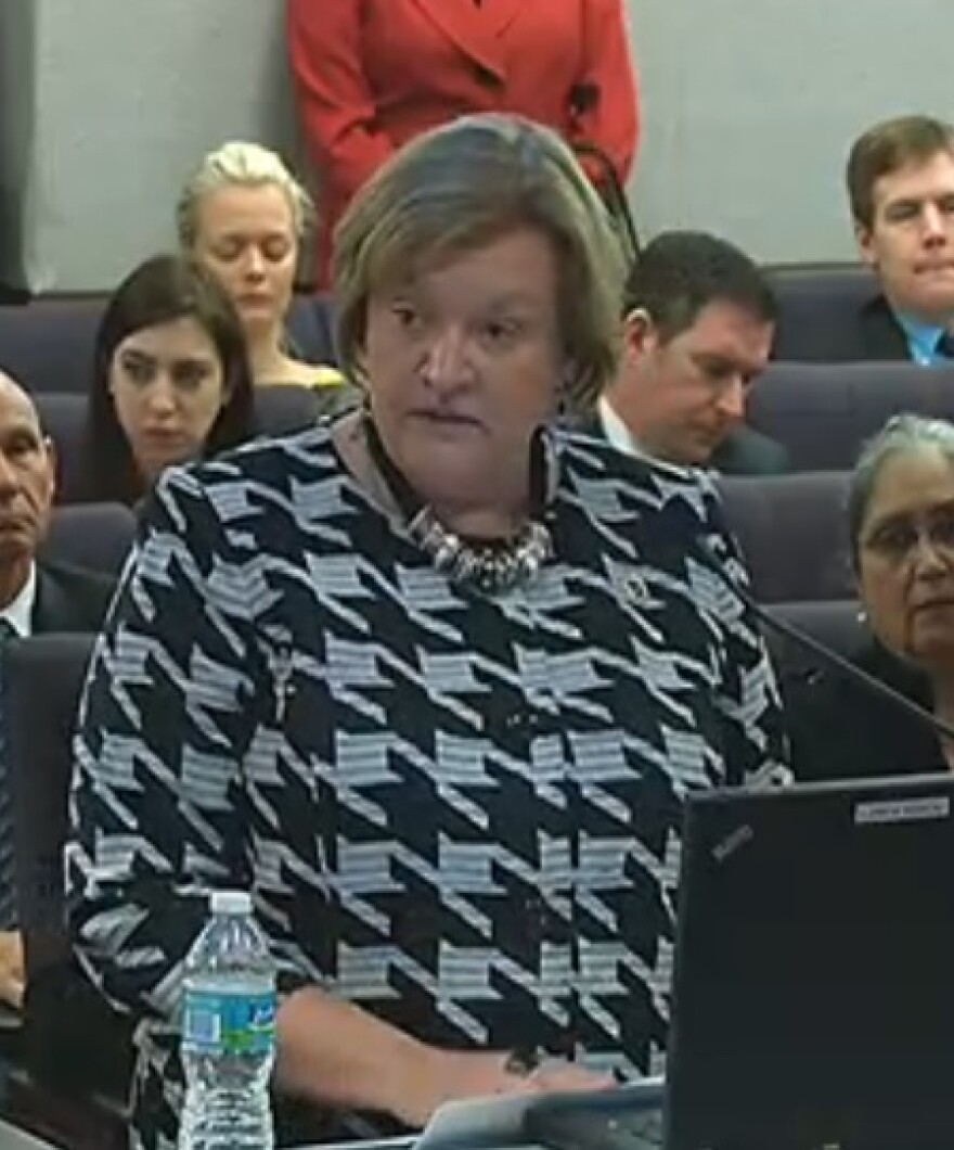 Florida Department of Corrections Secretary Julie Jones giving an update to the Senate Criminal Justice Committee Monday.
