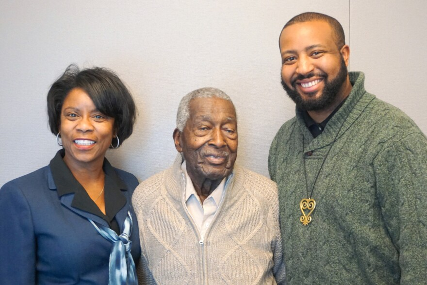 """(February 06, 2019) (L-R) Kim Chamberlain, Marshall J. Phillips and Marvin-Alonzo Greer shared some experiences of African-Americans in the U.S. military on Wednesday's """"St. Louis on the Air."""""""