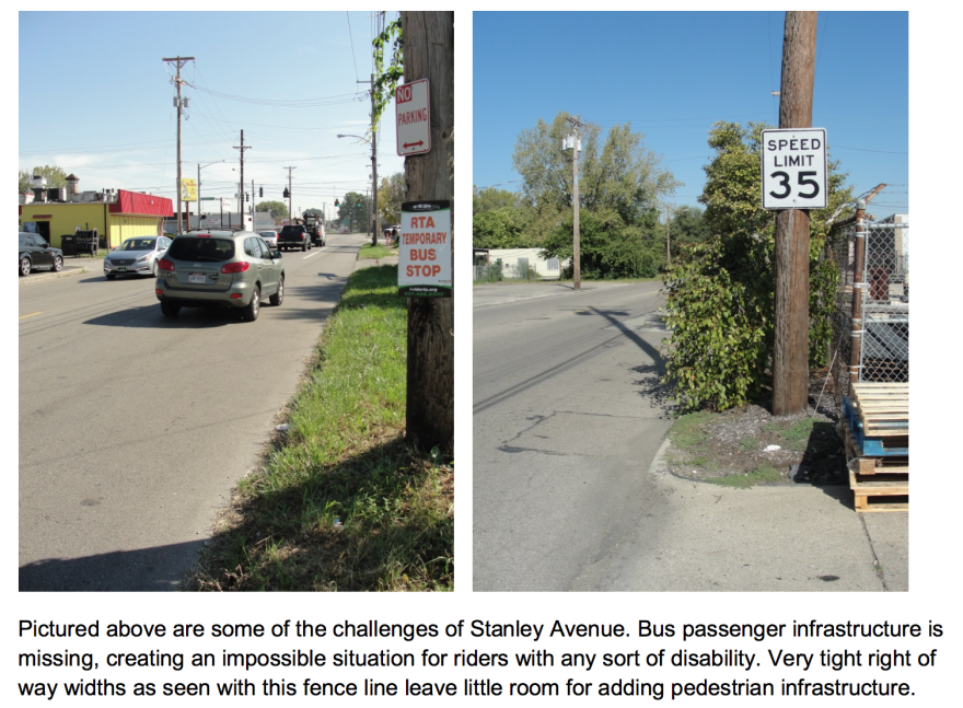 """A recent survey by the Miami Valley Regional Planning Commission found Stanley Avenue was """"not safe"""" for people with wheelchairs or strollers. There are few crosswalks or sidewalks available."""