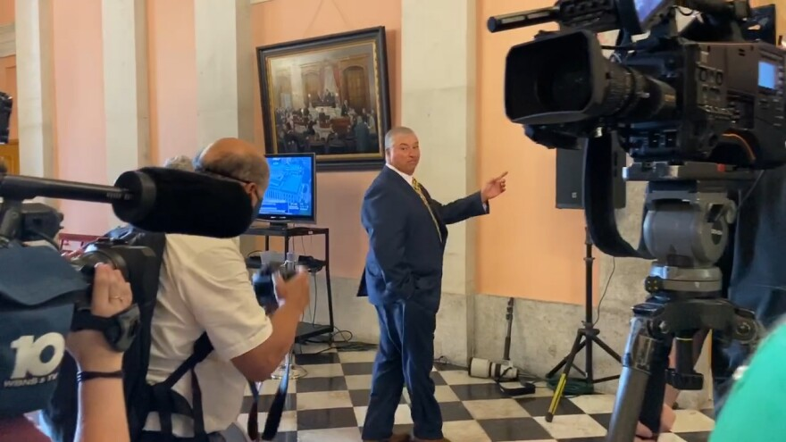Rep. Larry Householder (R-Glenford) talked to reporters on September 1, 2020, after returning to the House for the first time since his July arrest in a $61 million bribery scheme.