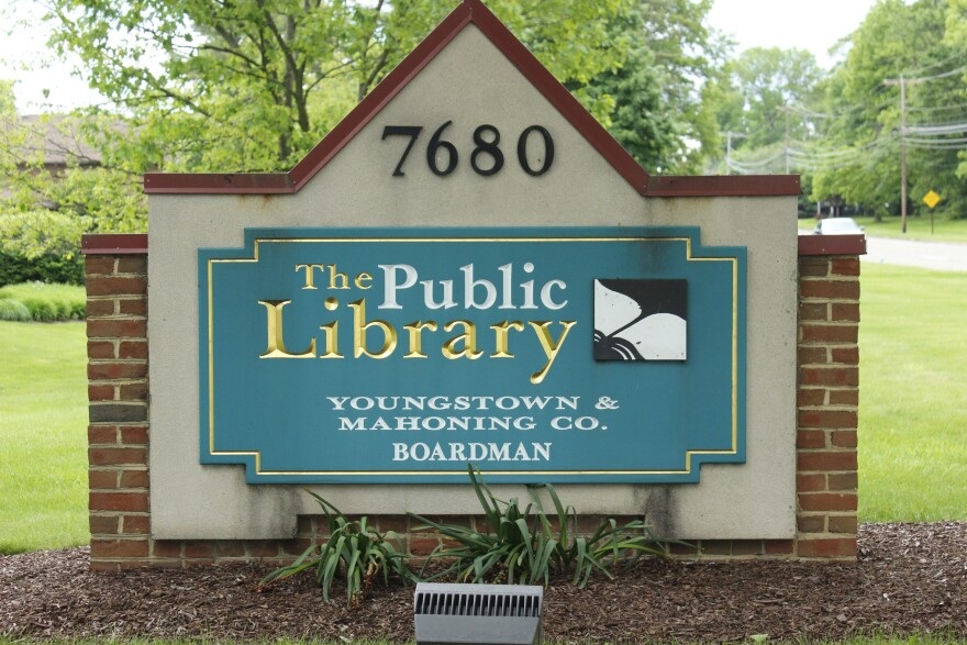 a photo of the Boardman Library sign