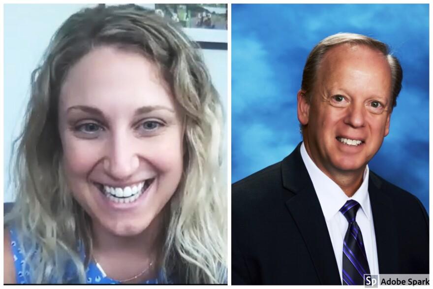 Hillsborough teacher Jennifer Kious, left, and Pinellas School Superintendent Michael Grego