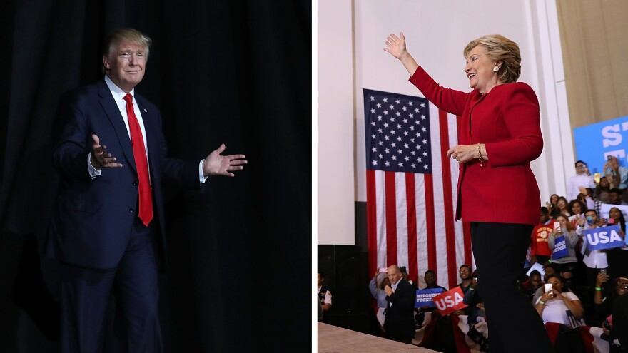 (Left) Donald Trump arrives on stage to speak during a campaign rally at the on Monday in Tampa, Fla. (Right) Hillary Clinton greets supporters during a campaign rally at Broward College on Tuesday in Coconut Creek, Fla.