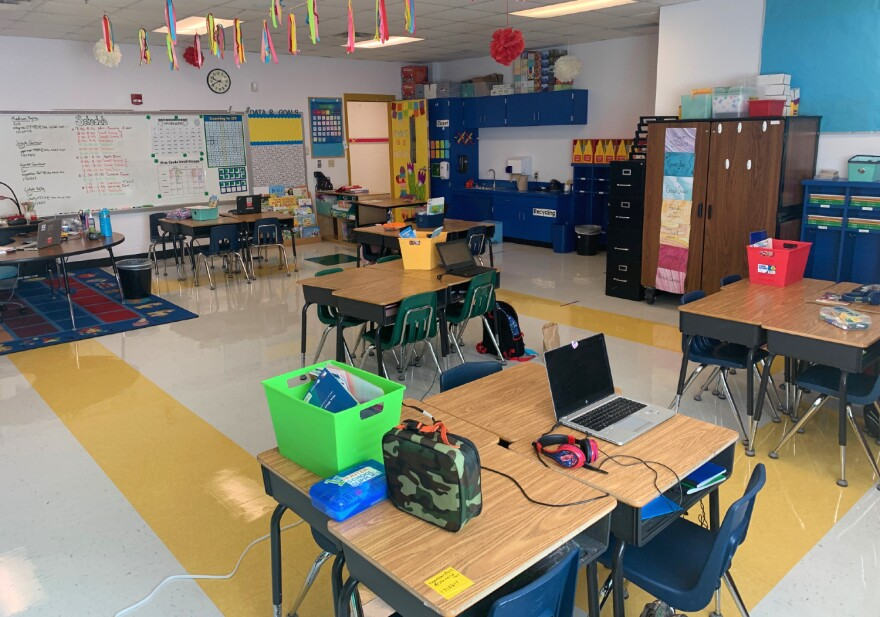 Alexandria Simmons' first grade classroom at Castle Hills Elementary has five stations for students to take part in virtual learning on campus, allowing Simmons to teach in-person and remotely simultaneously.