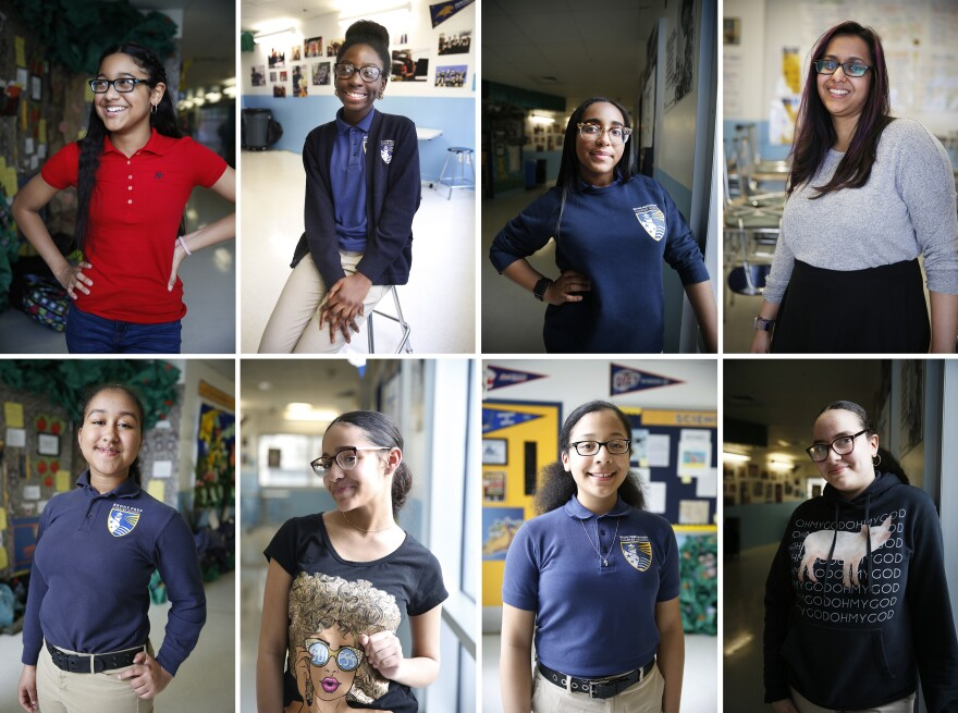 (Clockwise, from top left) Litzy Encarnacion, Ashley Amankwah, Kassy Abad, teacher Shehtaz Huq, Kathaleen Restitullo, Caroline Abreu, Jasmin Acosta and Raizel Febles.