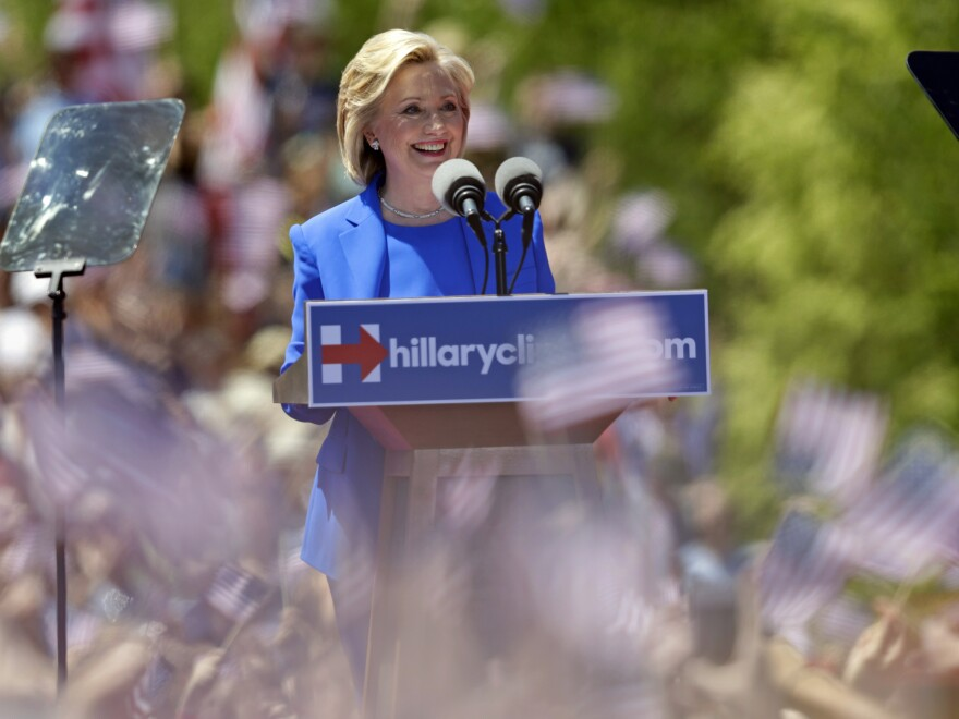 Democratic presidential candidate, former Secretary of State Hillary Clinton speaks to supporters Saturday on Roosevelt Island in New York.