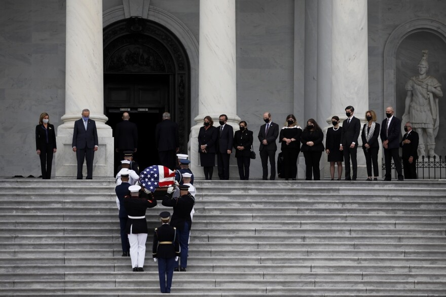 The flag-draped coffin of the late Supreme Court Associate Justice Ruth Bader Ginsburg arrives to the U.S. Capitol where she will lie in state for two hours in Washington, D.C.