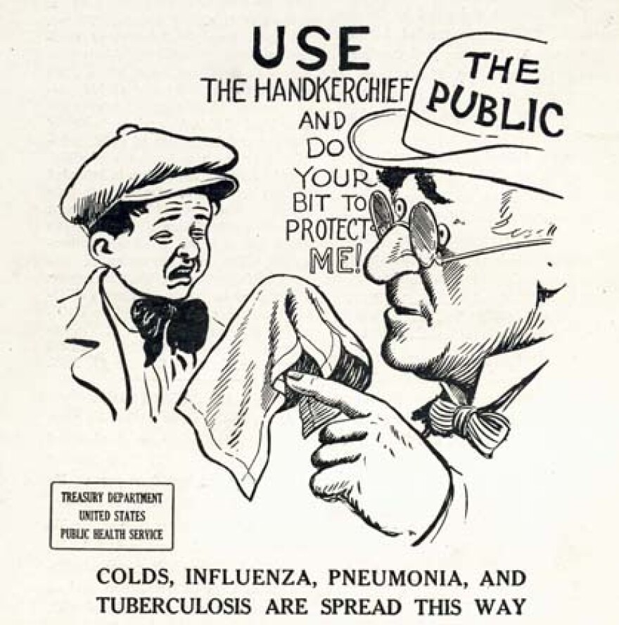 A 1919 cartoon showing the importance of not spreading germs (May 21, 2020).