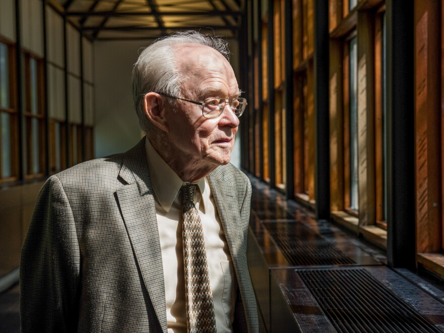 A portrait of Professor Gene Parker on the University of Chicago campus, May 18, 2017.