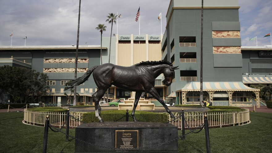A statue of famous racehorse Zenyatta at Santa Anita Park in Arcadia, Calif.