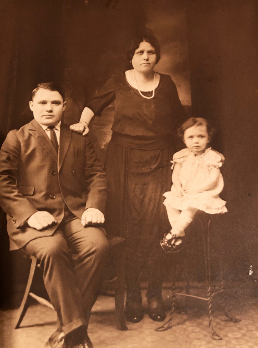 Moise and Ruchel Berkes, the author's grandparents, had their daughter Reba just days after arriving at Ellis Island in the early 1920s. Moise first sold apples on the street to support his suddenly expanded family (shown here when Reba was 2 or 3).