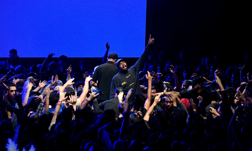 Kanye West onstage during his <em>Jesus Is King</em> album and film event at The Forum on Oct. 23, 2019 in Inglewood, California.