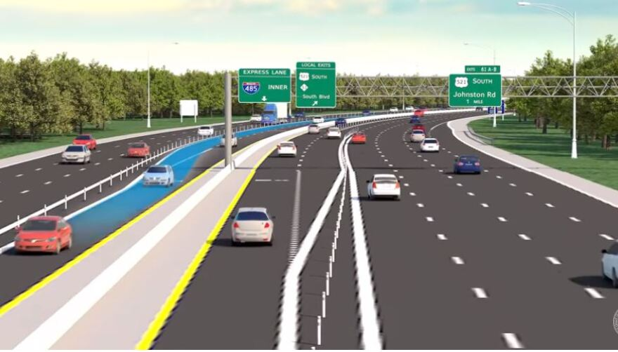 Toll lanes would be built in the median of I-485 from I-77 to U.S. 74.
