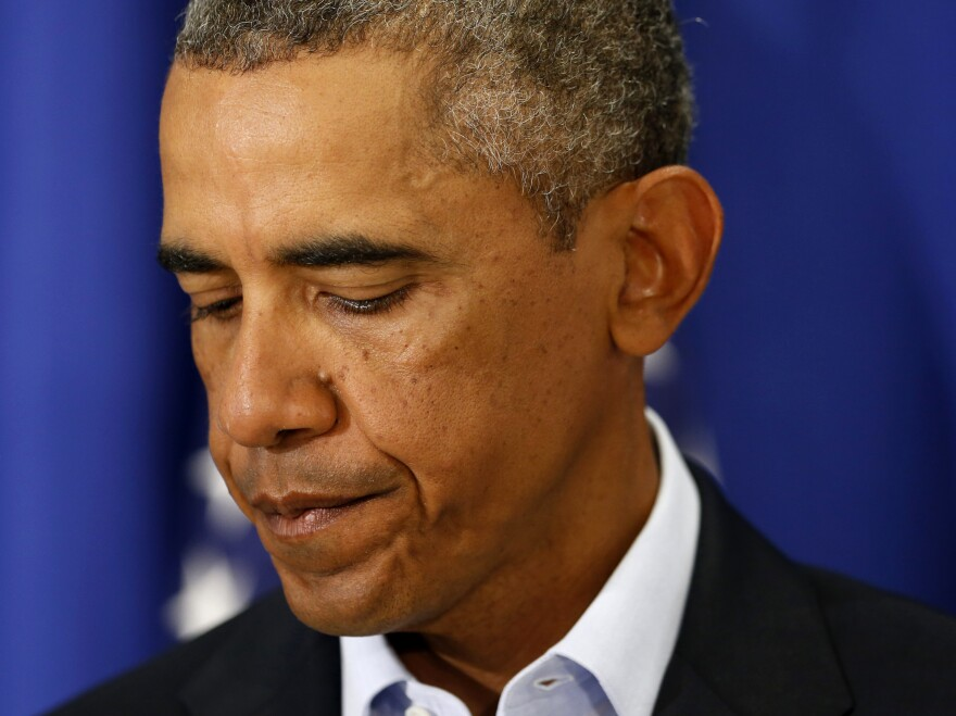 """President Obama said Wednesday that the extremist group that carried out the beheading of U.S. journalist James Foley engages in """"cowardly acts of violence"""" and """"has no place in the 21st century."""""""