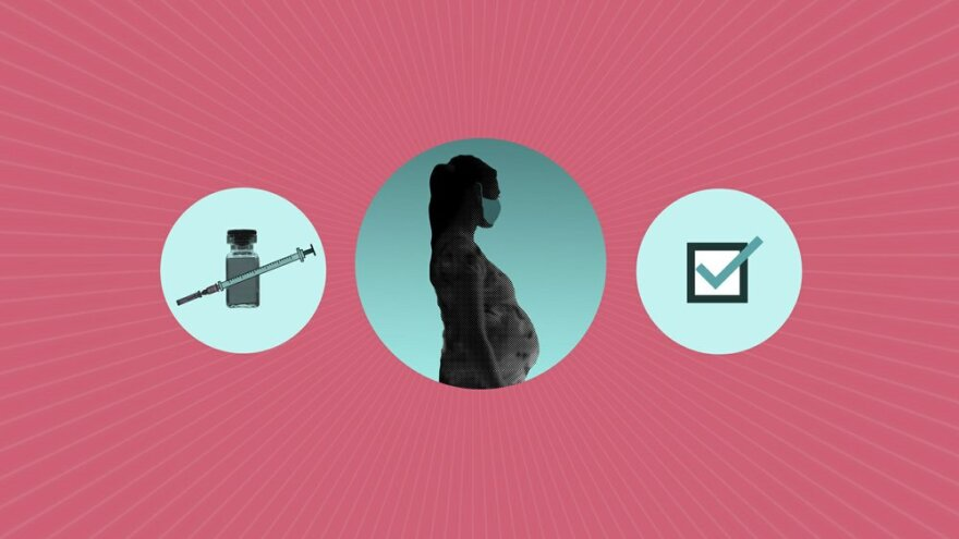 An illustration with a COVID-19 vaccine and vial, a pregnant woman, and a checkmark.