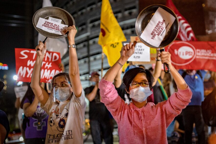 Filipino activists bang pots and pans as they take part in a global noise barrage rally against the coup in Myanmar on in Manila. These protests join those in the streets of Myanmar.