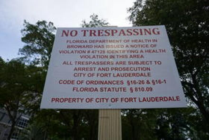 Signs erected around Stranahan Park.