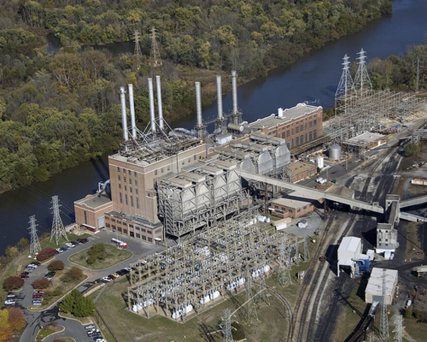 Buck Steam Station closed in 2013. Coal ash is stored in basins around the retired plant.