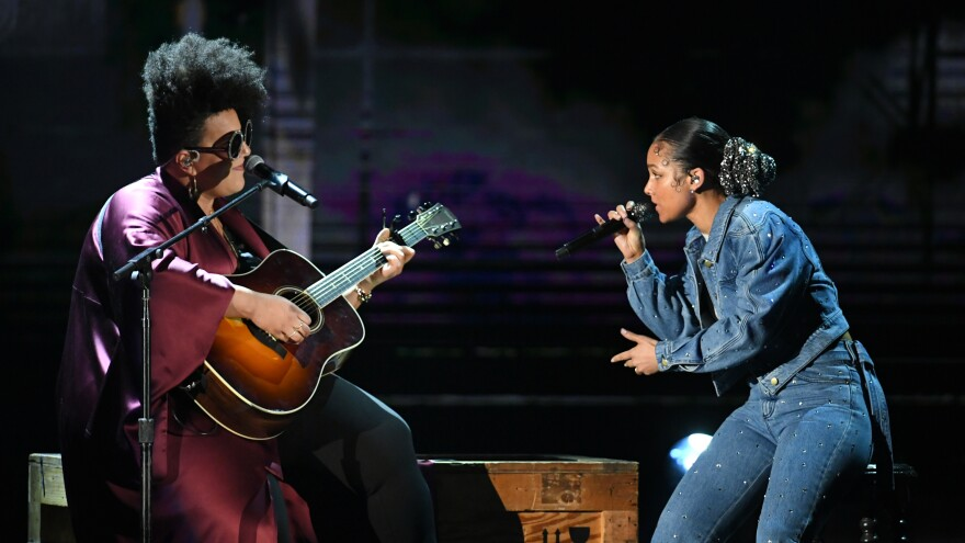 Grammy host Alicia Keys (right) and Brittany Howard perform during the ceremony.