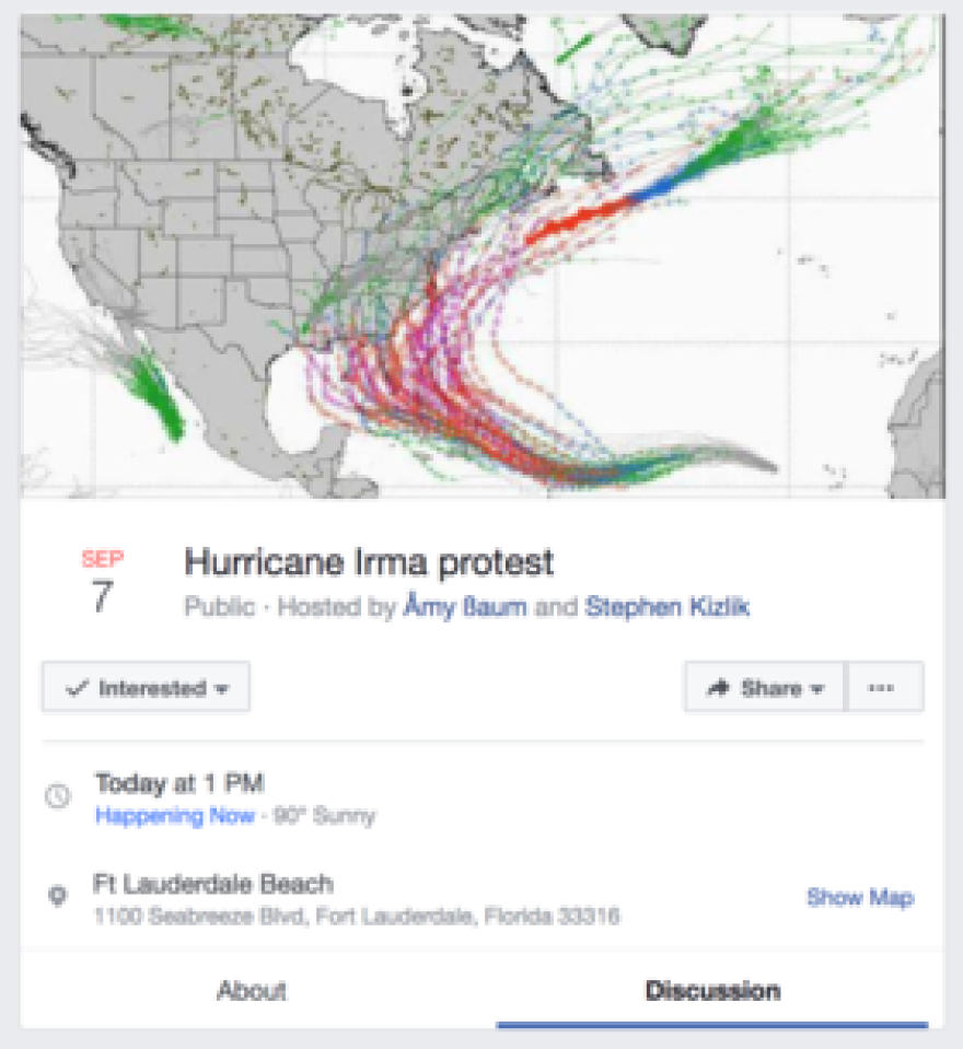 Screenshot from the Hurricane Irma protest event page.