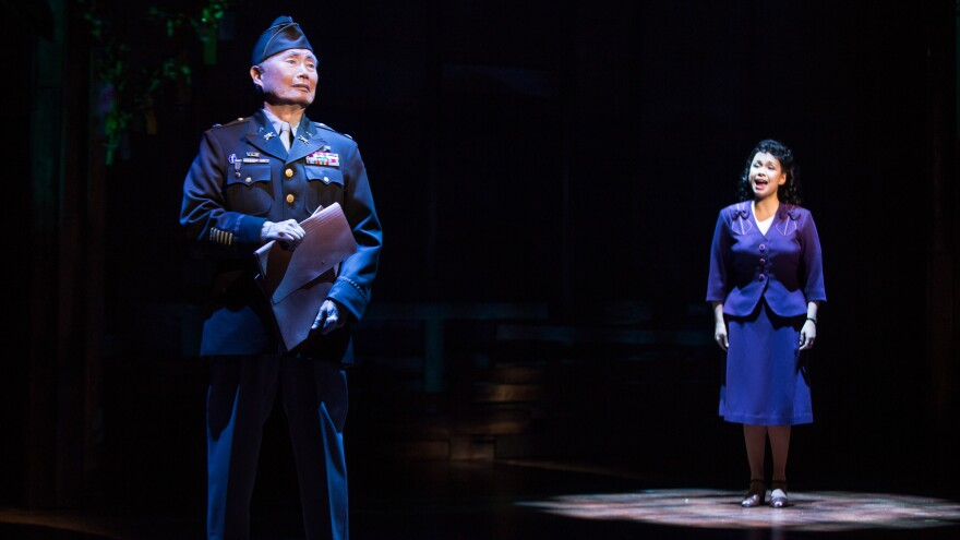 George Takei and Lea Salonga in a scene from the musical <em>Allegiance.</em>