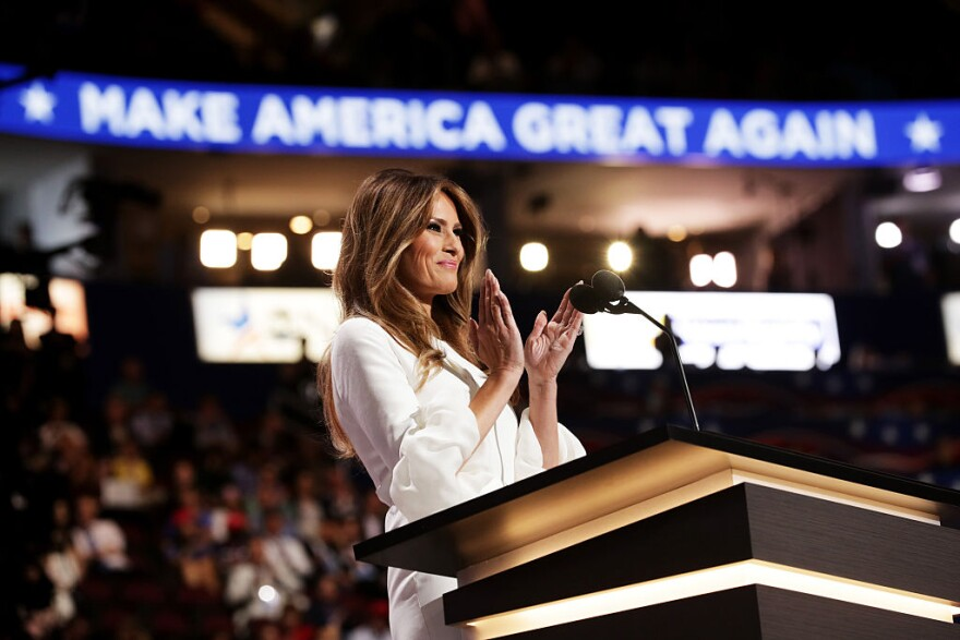 Melania Trump, wife of Presumptive Republican presidential nominee Donald Trump, delivers a speech on the first day of the Republican National Convention on July 18, 2016 at the Quicken Loans Arena in Cleveland, Ohio. (Chip Somodevilla/Getty Images)