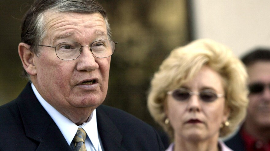 """Former Rep. Randy """"Duke"""" Cunningham, seen here with his wife, Nancy, in 2005, has finished serving a seven-year sentence for bribery and tax evasion."""