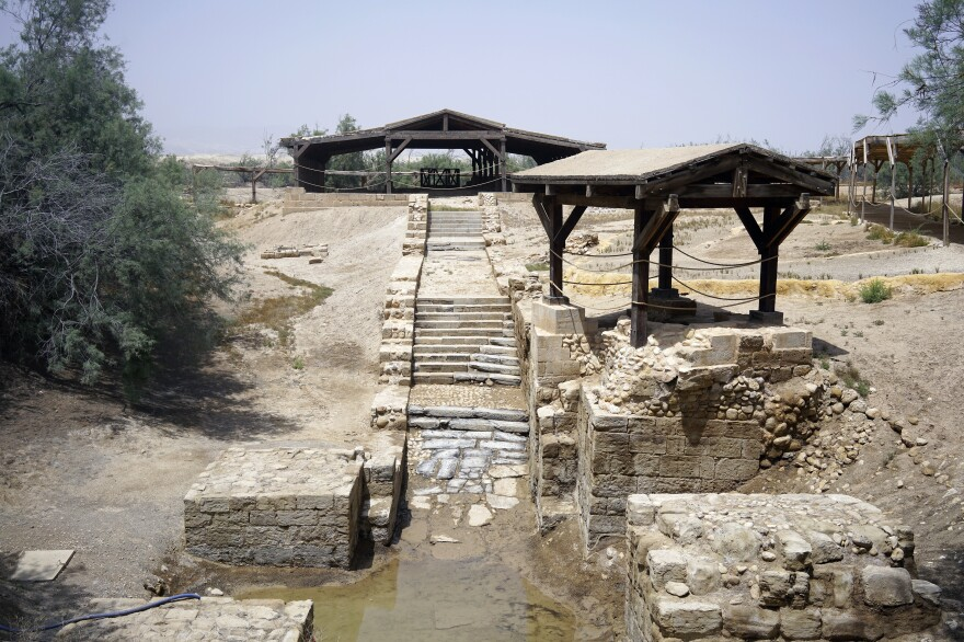 Part of Elijah's Hill on the grounds of Jordan's baptism site, where tradition says the Prophet Elijah ascended to heaven in a chariot of fire. The site includes early churches built by pilgrims to commemorate where Jesus was baptized.