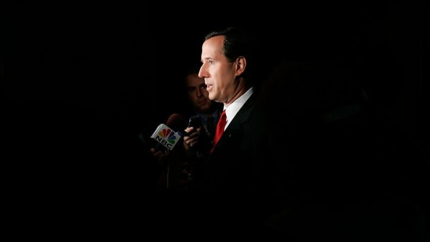 Then-Sen. Rick Santorum is interviewed after a debate with his Democratic challenger, Bob Casey, in 2006. Santorum later lost the Senate seat to Casey.