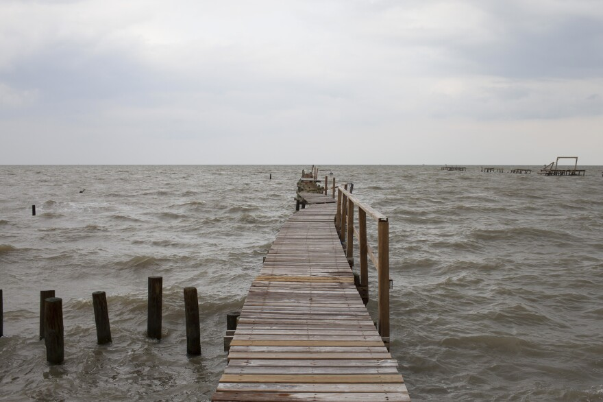 A damaged fishing dock in Rockport, Texas. Long Nguyen hopes that by Spring Break 2018, the harbor will be cleaned up and he can reopen his bait stand.