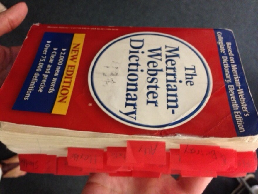 A well-loved and much-tabbed dictionary.