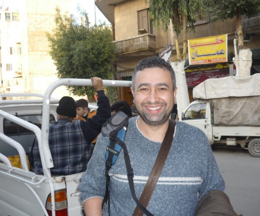 """Shadi Martini in an undated photo taken in Aleppo, Syria, before he was forced to flee the city.  """"I remember <em>every</em> sandwich,"""" he jokes, """"not only at Syrjeia. Because I love these sandwiches."""""""