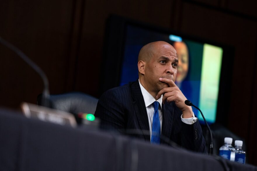 Senator Cory Booker (D-NJ) speaks during the fourth day of Senate Judiciary Committee on the confirmation hearing for Supreme Court nominee Amy Coney Barrett, on Capitol Hill in Washington, DC.