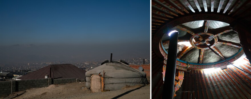 (Left) A <em>ger</em> on the city's outskirts. (Right) A chimney in one <em>ger</em> sends the coal smoke out through the opening in the roof. In the past 20 years, 600,000 people have migrated to Ulaanbaatar — many occupying traditional <em>gers</em> off the city's electric grid. They burn raw coal, garbage and other material to stay warm. Smokestacks feed a layer of smog that blankets the city.