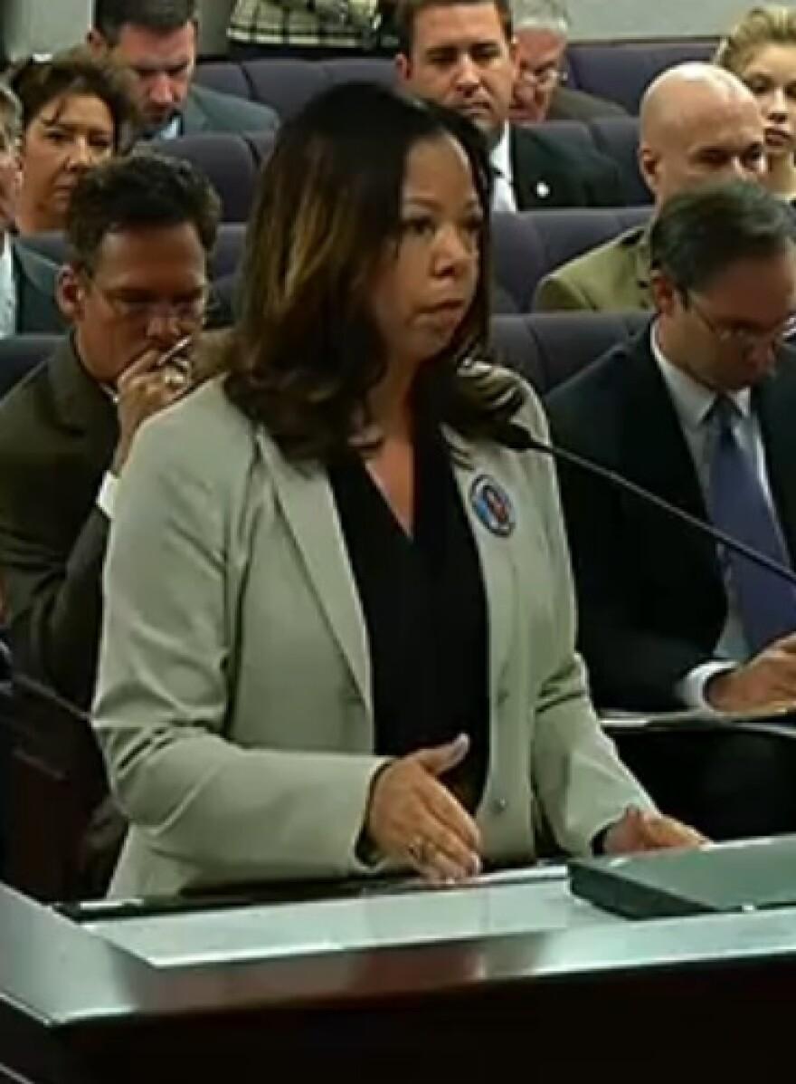 Lucia McBath, mother of Jordan Davis, speaking to a Senate panel Tuesday.