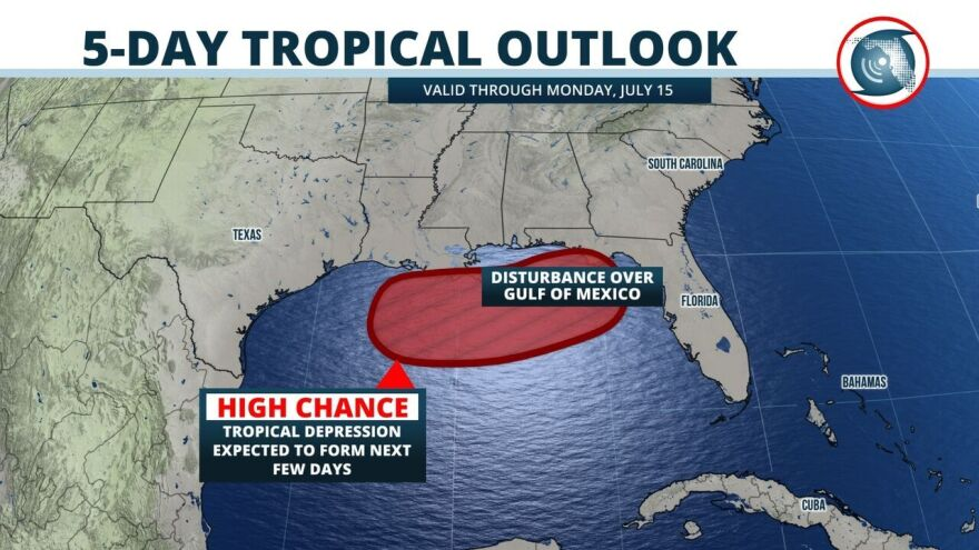 A broad area of low pressure to the north has slipped into the Gulf of Mexico and is poised to become a tropical depression – possibly today -- as it moves slowly west.