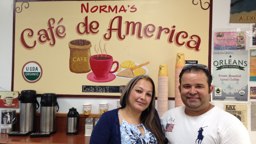 """Jose Castillo moved to New Orleans from Honduras when he was 5 years old. He runs <a href=""""http://www.yelp.com/biz/normas-sweets-bakery-new-orleans"""">Norma's Sweets Bakery</a> in the Midcity neighborhood, where a lot of the New Orleans Latino population lives. He's pictured here with his wife, Karina."""