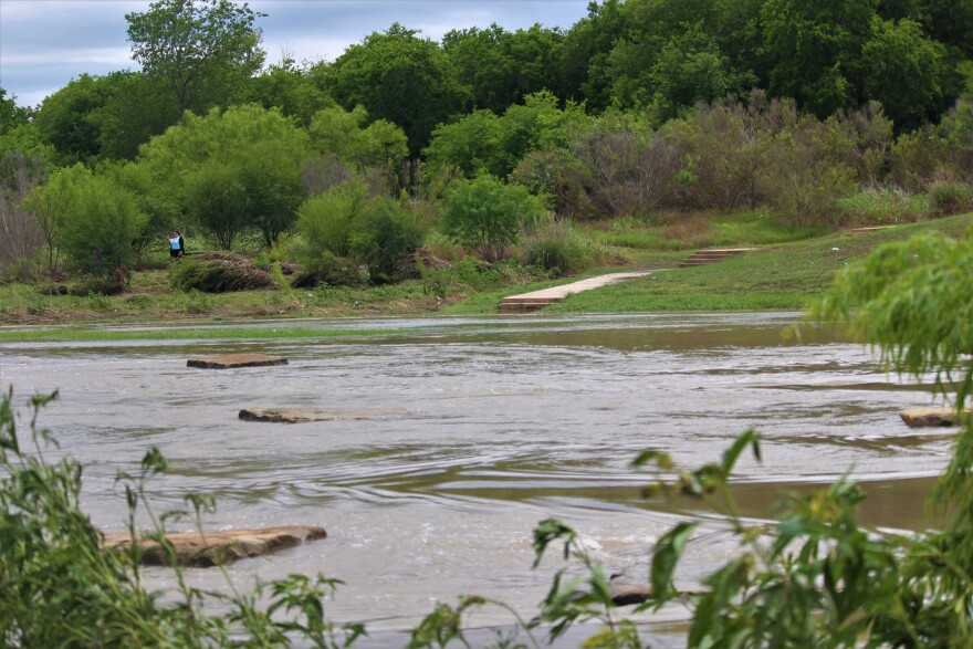 The river crossing at Padre Park was covered with rainwater on Monday, May 25.