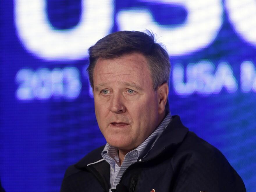Scott Blackmun, CEO of the U.S. Olympic Committee, speaks with reporters last year in Park City, Utah.
