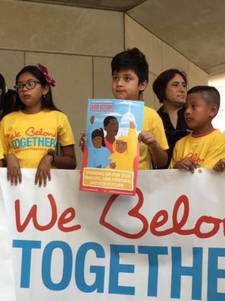 Kids from the We Belong Together caravan before heading to D.C. to protest against President Trump's immigration policies.