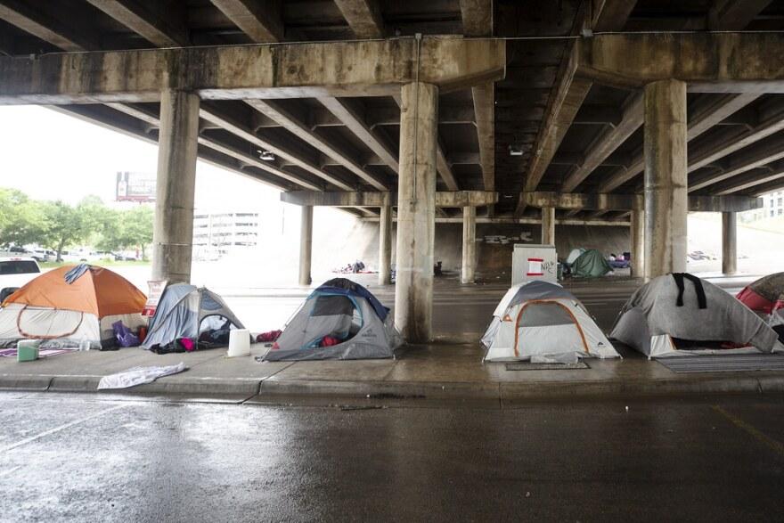 Encampments under the I-35 bridge during the coronavirus pandemic.
