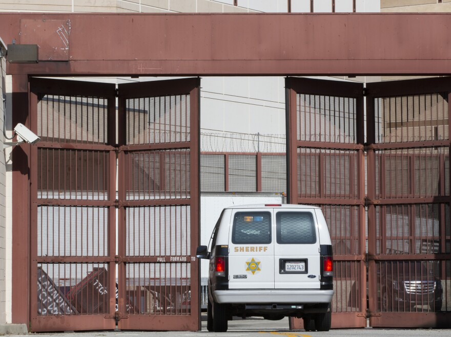 A Los Angeles County Sheriff's Department van enters the Twin Towers Correctional Facility in Los Angeles on April 1, 2020. California is planning to release as many as 3,500 inmates who were due to be paroled in the next two months as it tries to free space in cramped prisons in anticipation of a coronavirus outbreak, state officials said.