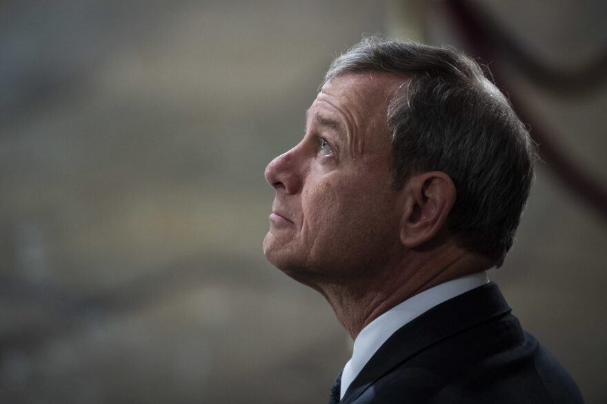 U.S. Supreme Court Chief Justice John G. Roberts, Jr. waits for the arrival of former U.S. President George H.W. Bush at the U.S Capitol Rotunda on December 03, 2018 in Washington, D.C. (Jabin Botsford - Pool/Getty Images)
