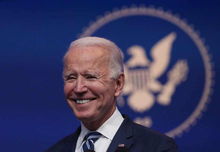 U.S. President-elect Joe Biden addresses the media about the Trump Administration's lawsuit to overturn the Affordable Care Act on at the Queen Theater in Wilmington, Delaware.