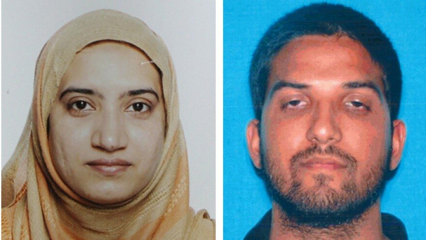 A photo provided by the FBI shows Tashfeen Malik (left) and a photo provided by California Department of Motor Vehicles shows Syed Farook, who attacked a holiday gathering of county workers in San Bernardino, Calif., this week.
