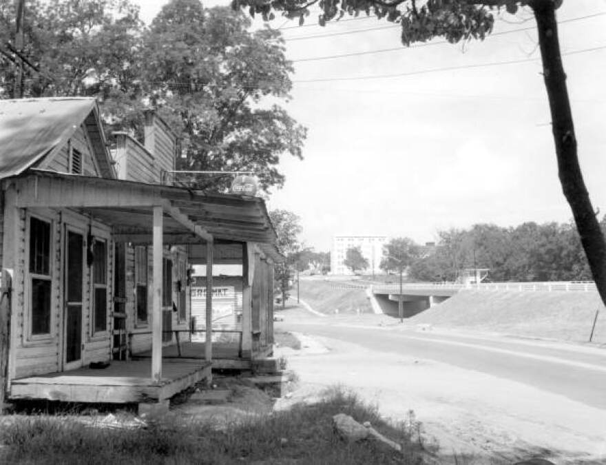A view of Apalachee Parkway from Lafayette Street circa 1958. Portions of the black neighborhood of Smokey Hollow were demolished and displaced in order to build the highway.