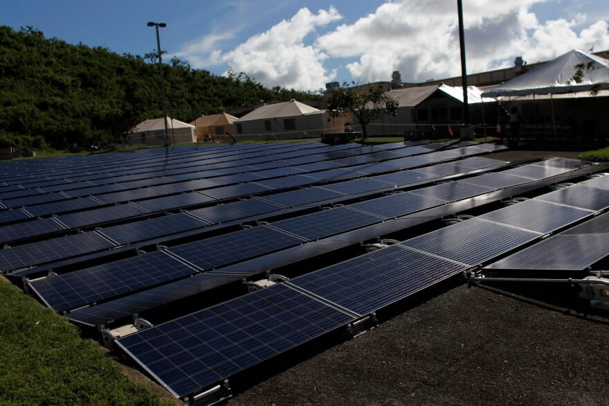 Solar panels set up by Tesla Industries are seen at a hospital in Vieques, Puerto Rico, on Nov. 27, 2017. (Ricardo Arduengo/AFP/Getty Images)