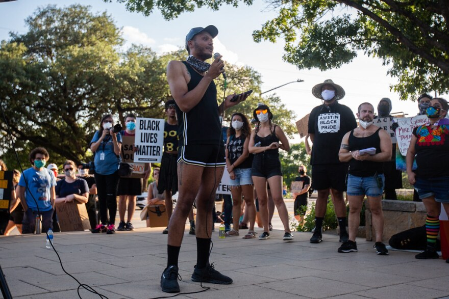 Keelan Moses addresses the crowd during an LGBTQ rally in support of the Black Lives Matter movement, in Austin on June 5.