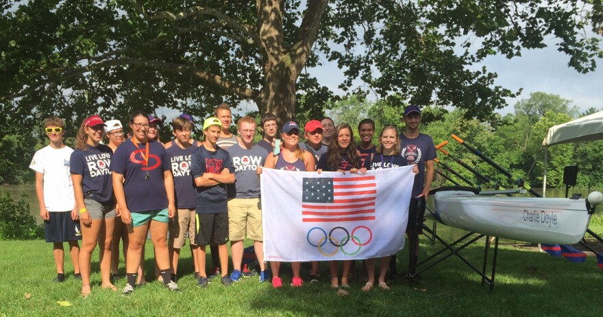 Although, the Miami River was running too high for a planned rowing demonstration, members of the Greater Dayton Rowing Association we all smiles at the announcement of the newly formed Dayton Regional Rowing.
