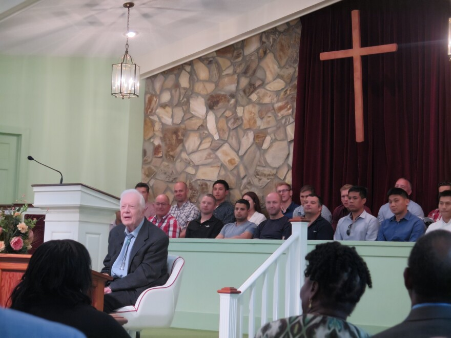 Former president Jimmy Carter teaches Sunday School at Maranatha Baptist Church in his hometown of Plains, Ga.